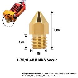 0.4mm Brass MK8 Extruder...